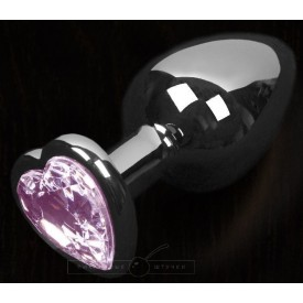 Графитовая анальная пробка с розовым кристаллом в виде сердечка - 8,5 см.