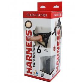 "Насадка-фаллоимитатор на кожаных трусиках Harness Ultra Realistic 6"" - 16 см."